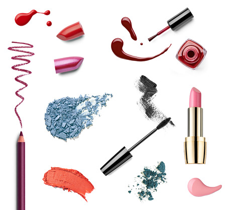 face make up: collection of various make up on white background  each one is shot separately Stock Photo
