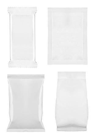 collection of  various white bag package template on white background  each one is shot separately photo