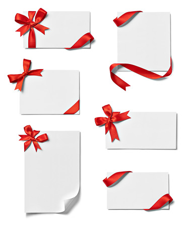 collection of various note card with ribbon bow on white background  each one is shot separately
