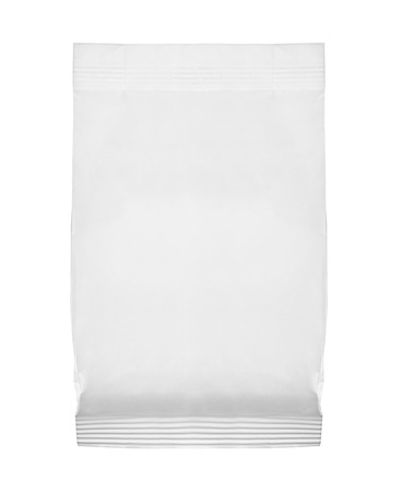 food package: close up of  a white package template on white background