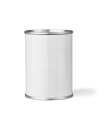 can food: close up of  a white tin can template on white background