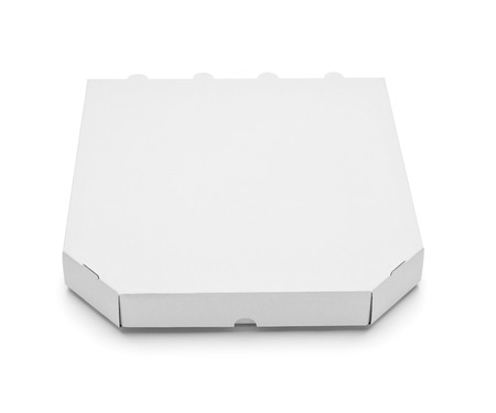 pizza box: close up of  a white pizza box template on white background
