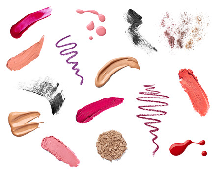color skin brown: collection of various make up on white background  each one is shot separately Stock Photo