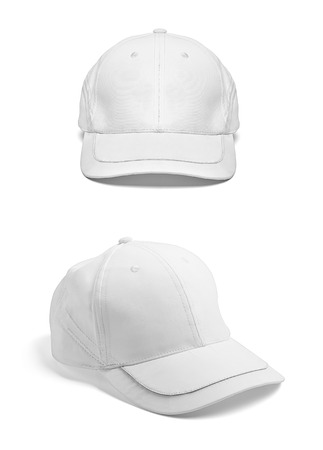 baseball hat: close up of  a white cap template template on white background