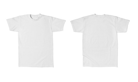 t shirt white: close up of  a white t shirt template front and back on white background  each one is shot separately