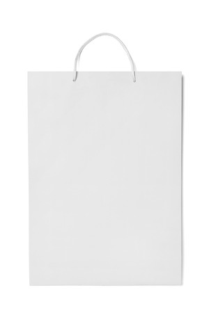 close up of  a white shopping bag on white background Stock Photo - 26001535