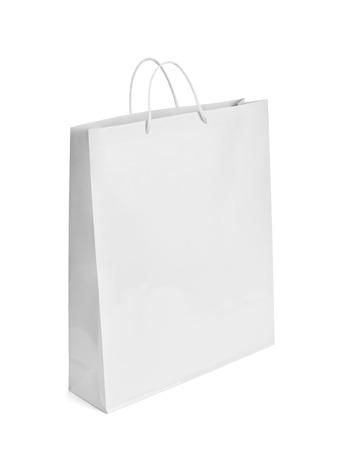 close up of  a white shopping bag on white background Stock Photo - 26001680