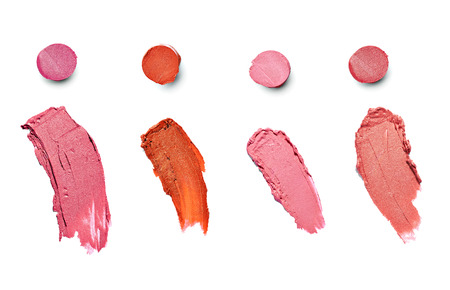 collection of  various lipsticks  on white background  each one is shot separately photo