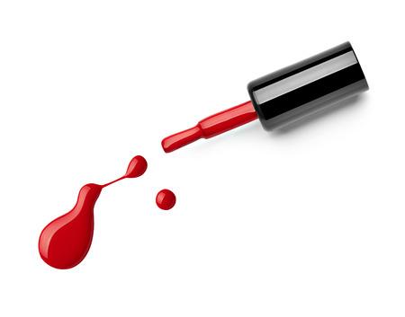 flacon vernis � ongle: pr�s d'une bouteille vernis � ongles et port�es sur fond blanc Banque d'images