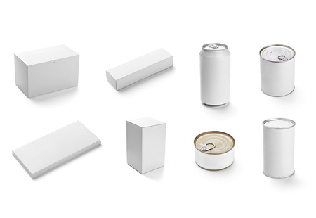collection of  various white btin can on white background  each one is shot separately photo