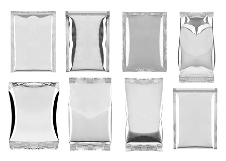instant noodles: collection of various aluminum bag package on white background  each one is shot separately