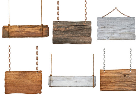 collection of various empty wooden signs hanging on a rope and chain on white background  each one is shot separately Stockfoto