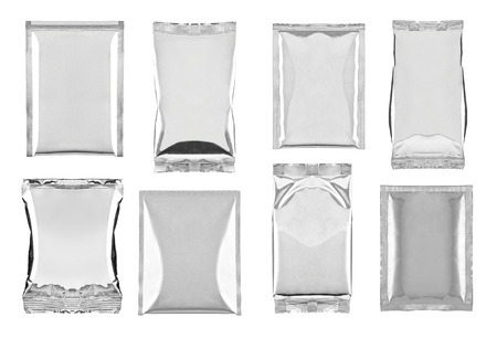 instant noodle: collection of various aluminum bag package on white background  each one is shot separately