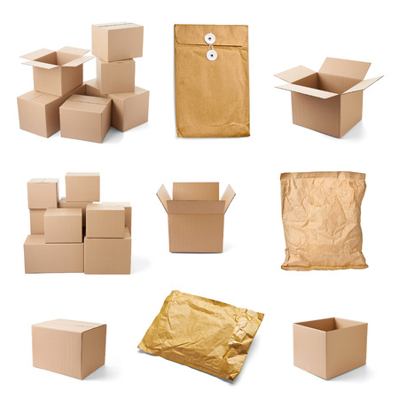 corrugated box: collection of various cardboard boxes on white background  each one is shot separately