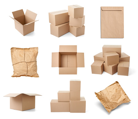storage warehouse: collection of various cardboard boxes on white background  each one is shot separately