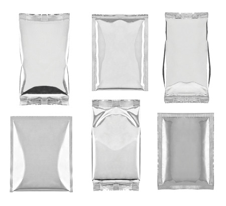 foil: collection of various aluminum bag package on white background  each one is shot separately