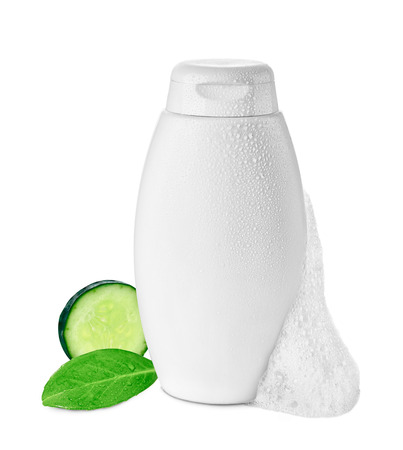 close up of  a white shower or shampoo bottle on white background photo
