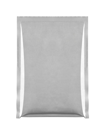 close up of aluminum bag package on white background photo