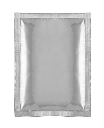 close-up van aluminium zak pakket op witte achtergrond