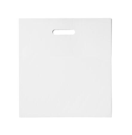 merchandise: close up of  a white shopping bag on white background Stock Photo