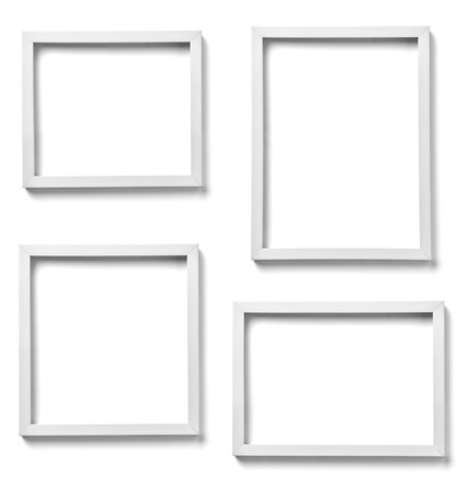 group picture: collection of  various white wood frames on white background  each one is shot separately