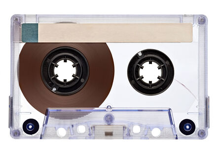 cassette tape: close up of a vintage audio tape on white background Stock Photo