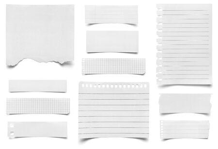 Sammlung weiße zerrissene Blätter Papier auf weißem Hintergrund jeder wird separat geschossen