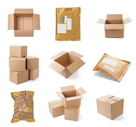 closed box: collection of various cardboard boxes on white background  each one is shot separately