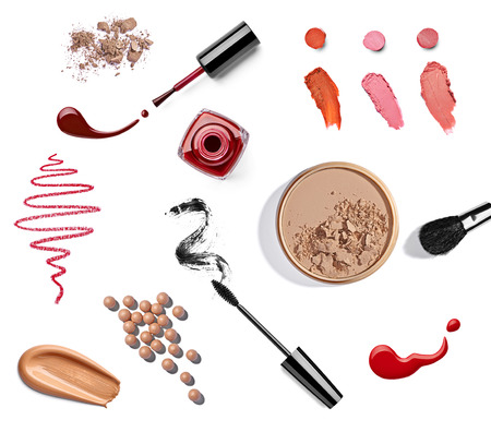 lip stick: collection of various make up on white background  each one is shot separately Stock Photo