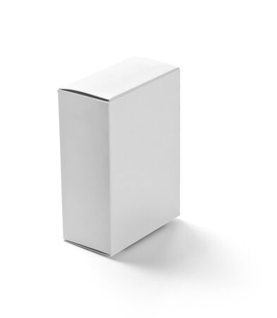 close up of  a white box template on white background photo