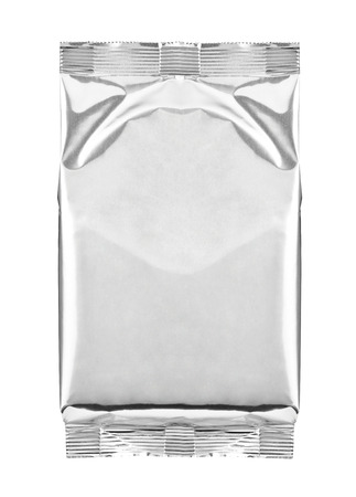 white paper bag: close up of aluminum bag package on white background