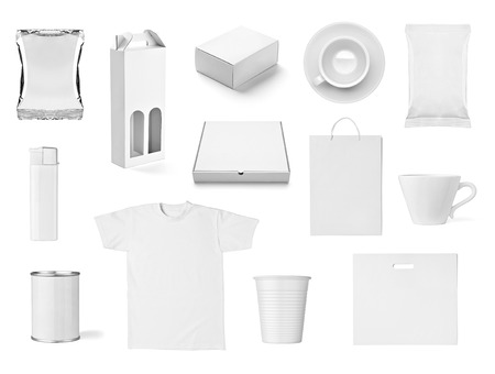 collection of  various white print templates on white background  each one is shot separately photo