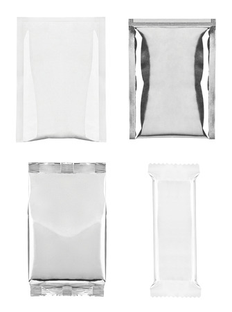 instant noodle: collection of  various white and aluminum bag and packages on white background  each one is shot separately