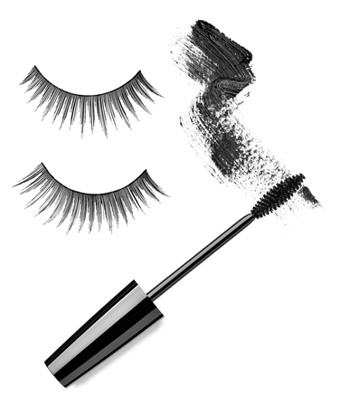 collection of a mascara  shapes on white background  each one is shot separately photo