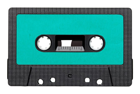 tape cassette: close up of a vintage audio tape on white background Stock Photo