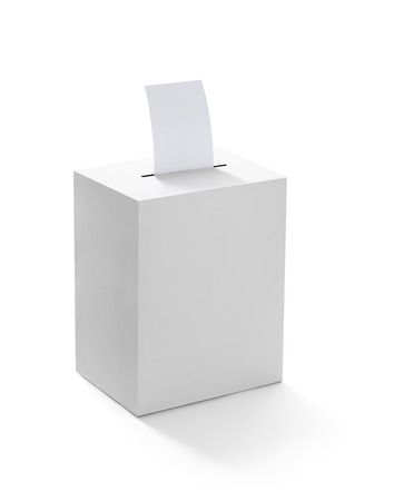designate: close up of  a ballot box and casting vote on white background