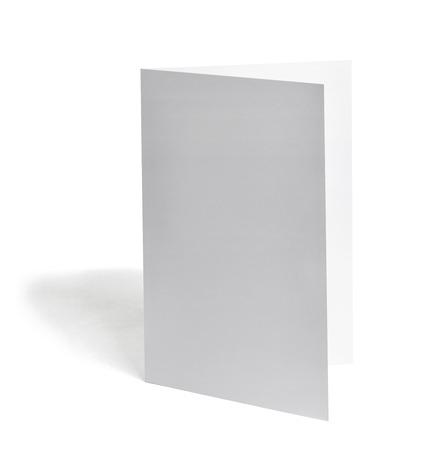 z fold: close up of a  blank folded leaflet white paper on white background