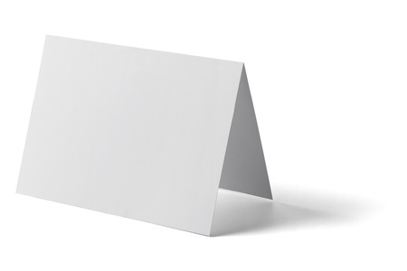z fold: close up of a  blank folded leaflet white paper on white background