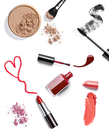 make love: collection of various make up on white background  each one is shot separately Stock Photo