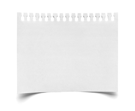 close up of  a piece of note paper on white background photo