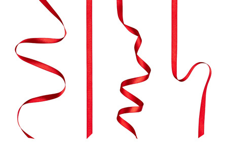 ribbon red: collection of  various red ribbon pieces on white background  each one is shot separately Stock Photo