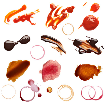 red wine stain: collection of various coffee, wine, ketchup and chocolate stains on white background  each one is shot separately