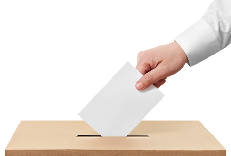 democratic: close up of  a ballot box and casting vote on white background
