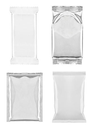 collection of  various white and aluminum bag and packages on white background  each one is shot separately photo