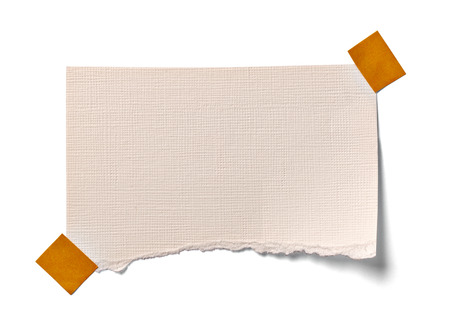 note paper: close up of  a vintage note paper on white background