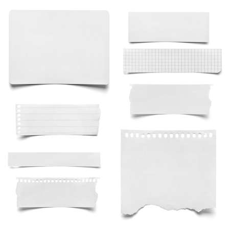 collection of various pieces of note paper on white photo