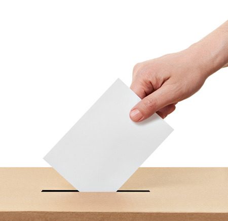 close up of  a ballot box and casting vote on white background photo