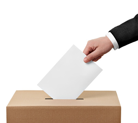plebiscite: close up of  a ballot box and casting vote on white background