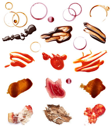 fleck: collection of various coffee, wine, ketchup, chocolate and cake stains on white background  each one is shot separately