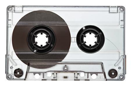 audio cassette: close up of a vintage audio tape on white background Stock Photo